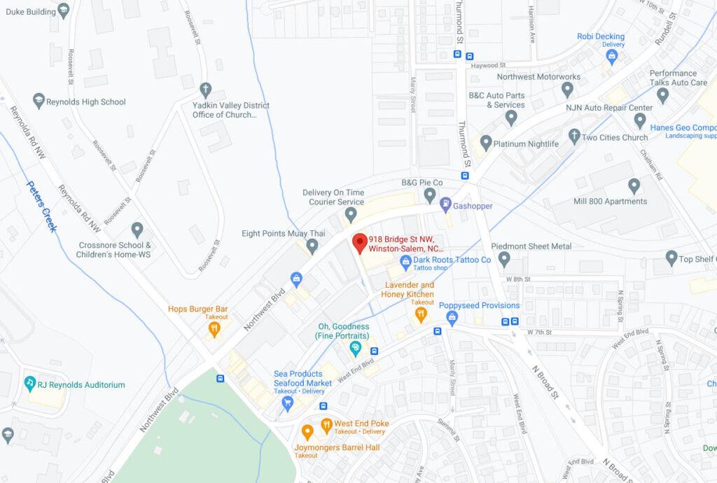 The Breathing Room Yoga Winston-Salem Location Map